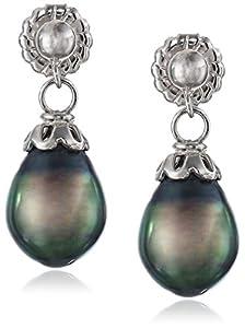 Sterling Silver Tahitian Cultured Pearl Dangle Earrings (8-9mm)