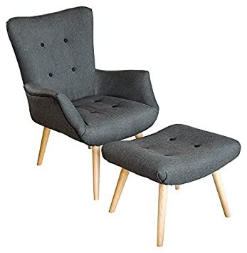Febland Grey Fabric Chair and Footstool, Fabric