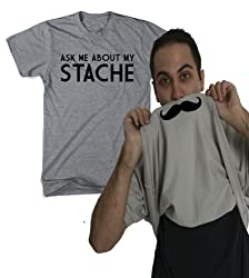 Ask Me About My Stache Funny Mustache Shirt Flip Mens Tee by Crazy Dog Tshirts