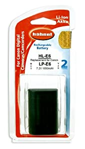 Hahnel HL-E6 Li-ion 7.2V 1650mA Battery Canon Type Replacement for Canon