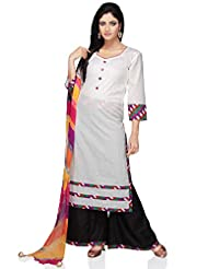 Utsav Fashion Women's White Cotton Readymade Kameez With Palazzo-Medium