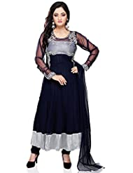 Utsav Fashion Women's Dark Blue Net And Cotton Shimmer Readymade Anarkali Churidar Kameez-Small