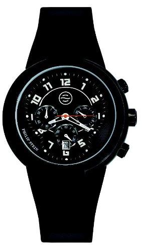 Philip Stein - 32-AB-RBB - Montre Mixte - Quartz Analogique - Cadran Noir - Bracelet Silicone Noir