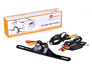 TaoTronics® TT-CC05 2.4G Wireless Car License Mount Rear View Backup Camera 7 IR LED Night Vision with Transmitter & Receiver (Waterproof IP67 / Color CMOS / 135 Degree Viewing Angle / Distance Scale Line)