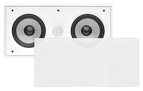 Pyle Pdiwcs56 In-Wall / In-Ceiling Dual 5.25-Inch Center Channel Sound System, 2-Way, Flush Mount, White, Single Unit