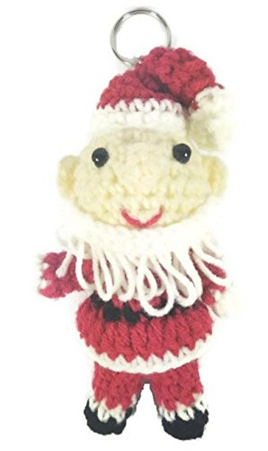 [Chic Cute 2 in 1 Hand Knit Keychain Doll, Christmas Santa Boy Toy] (Weimaraners In Costumes)
