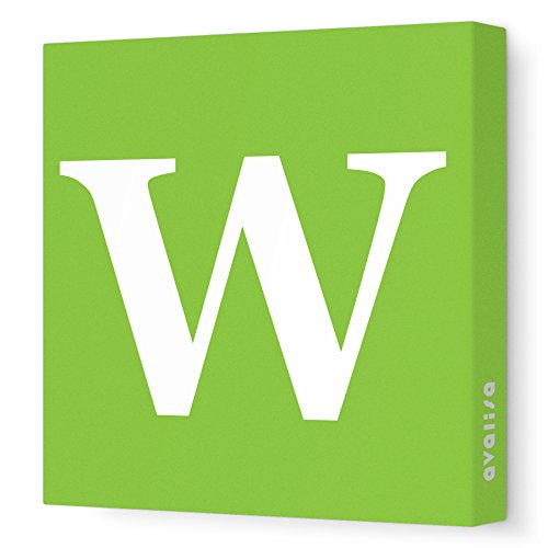 "Avalisa Stretched Canvas Nursery Wall Art, Upper Letter W, Green, 28"" X 28"""