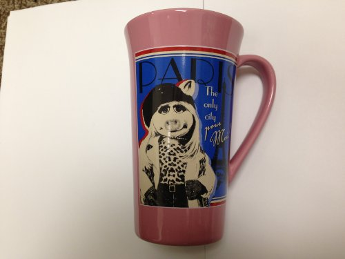Authentic Disney Exclusive Muppets Miss Piggy Paris Tall Ceramic Coffee Mug