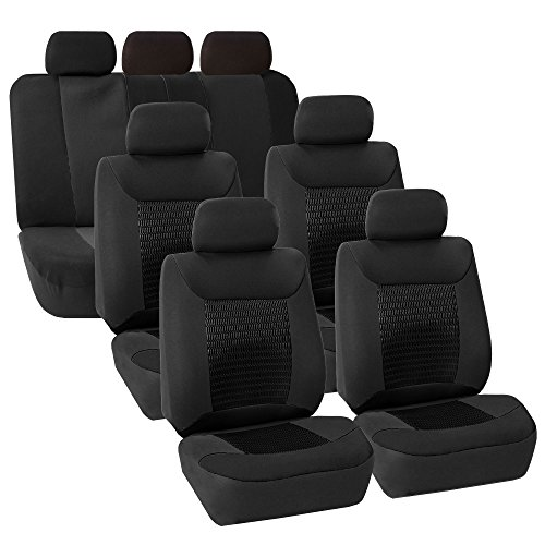 COMMART 3 Row Car Seat Covers Luxury For Van Minivan Truck (Black) Ships from USA (Superwoman Car Mats compare prices)