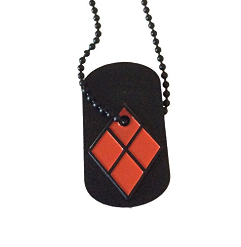 DC Comics Harley Quinn Symbol Cut Out Enamel Metal Dog Tag Necklace Costume Accessory