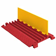 "Linebacker CP4X125-Y/O Polyurethane Extra Heavy Duty 4 Channel Cable Protector with T-Shaped Connectors, Yellow Lid with Orange Ramp, 36"" Length, 20"" Width, 2.31"" Height"