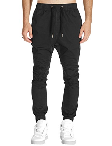 Italy Morn Men Drop Crotch Joggers Pants Skinny Chinos Khakis Pant Casual Harem Trousers Sweatpants Sport Jogging Baggy Cotton Twill L Black