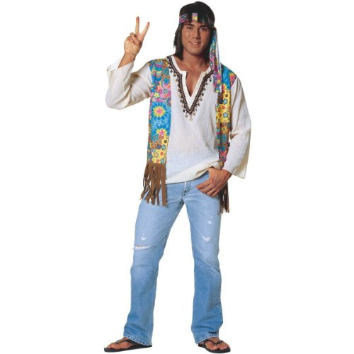 Original Hippie Dude 60s Costume for Men (flip flops and jeans not included)