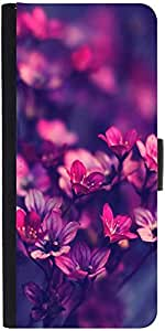 Snoogg Serene Flowers Graphic Snap On Hard Back Leather + Pc Flip Cover Samsu...