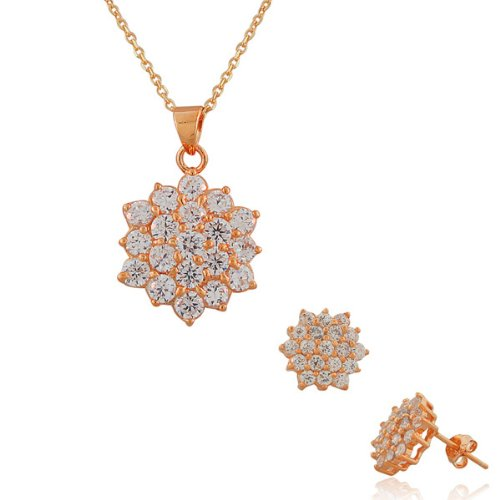 Sterling Silver Yellow Rose Gold Plated White Crystals Cz Womens Pendant Necklace Stud Earrings Set (Rose Gold Plated)