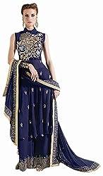 Begum Riwaaz Women's Georgette Unstitched Dress Material (12002, Blue)