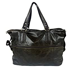 BAIGIO Men\'s Brown Soft Leather 17 Inch Laptop Weekend Duffle Tote Shoulder Bag
