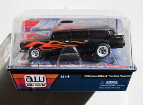Auto World 186 1959 Cadillac Ambulance, Black, 4 Gear Ho Scale Slot Car