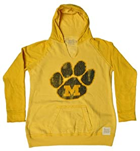 Missouri Tigers Retro Brand Yellow Ladies Vintage Paw Print Slit Neck Hoodie (M) by Retro