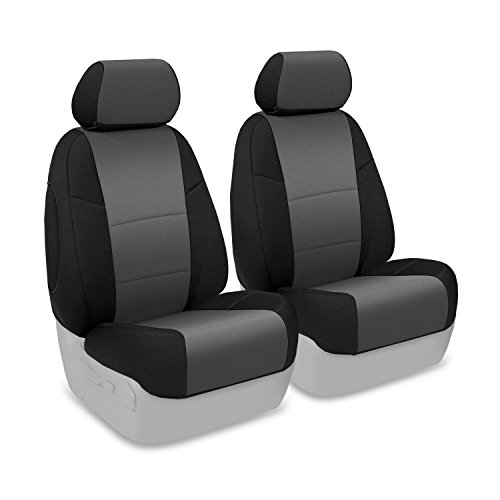 Coverking Front 50/50 Bucket Custom Fit Seat Cover For Select Ford Escape Models - Neoprene (Charcoal With Black Sides) front-1067424