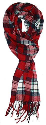 Ted and Jack - Ted's Classic Cashmere Feel Checkered or Plaid Scarf (Red Flannel)