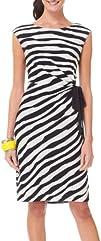 Connected Apparel Stripe Tie Faux Wrap Dress