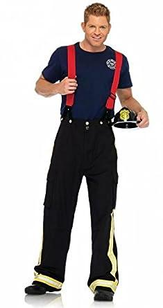 Leg Avenue Men's 3 Piece Captain Pants, Black/Red, Medium/Large