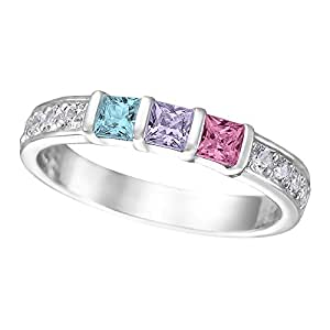 princess cut channel set mothers rings with 1