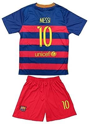 2015/2016 Fc Barcelona Messi #10 Home Football Soccer Kids Jersey Socks & Shorts