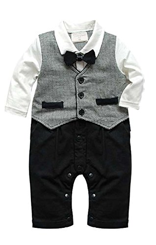 Baby Boy Kids Toddler Newborn Gentleman One-piece Romper Jumpsuit Outfit Clothes (90 for 12-18 months)