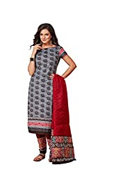 Taos womens pure cotton salwar suits for women New Arrival latest 2016 dress material party wear dresses Unstitched black red (O1-HXXS-FBHJ)