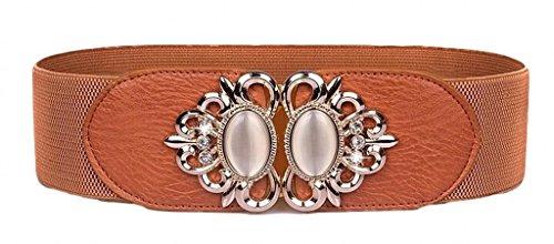 Aini Savoie Faux Leather Floral Interlock Buckle Elastic Waist Belt Cinch Brown - L