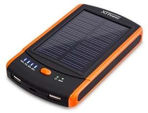 XTPower® MP-S6000 Solar Powerbank - mobiler externer USB Solarakku Ladegerät mit 6000mAh - 2 USB 2.1A
