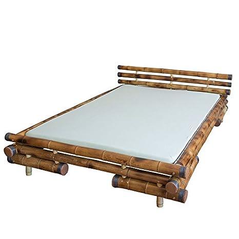 Bambusbett Bambus Bett 180 x 200 braun massiv Bettrahmen natur Holzbett Streben
