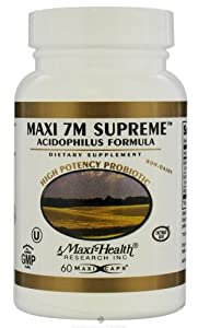 Maxi-Health Research Kosher Vitamins - Maxi 7m Supreme Acidophilus Formula High Potency Probiotic - 60 Capsules