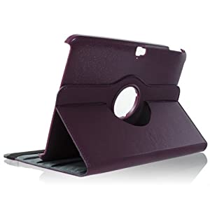i-Beans【全7色】Google Nexus 10 用高品質なPUレザーケース スタンド+オートスリープ機能付 360度回転 パープル PU Leather Case for Google Nexus 10 Android Tablet (4400-3)