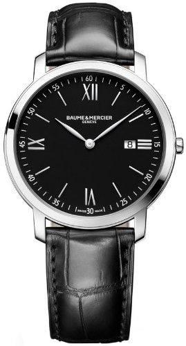 Baume and Mercier Classima Executives Black Dial Stainless Steel Mens Watch M0A10098
