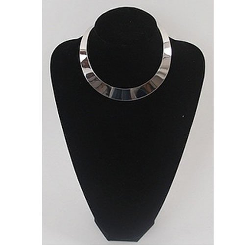 Womens Silver Tone Mirrored Metal Choker Collar Mottled Bib Necklace