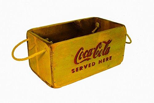 coca-cola-yellow-antique-wooden-storage-trunk-box-crate-vintage-30cm-rope-handle