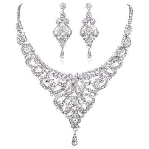 EVER FAITH Bridal Silver-Tone Vase Flower Clear Austrian Crystal Necklace Earrin…