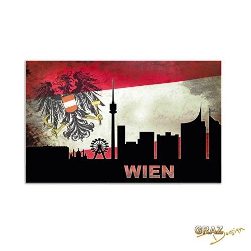 Wandsticker Wandtattoo Aufkleber Welt für Wohnzimmer Wien Österreich Stadt (Größe=91x57cm)