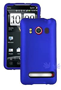 Blue Rubberized Hard Protector Case + Screen Protector for HTC EVO 4G