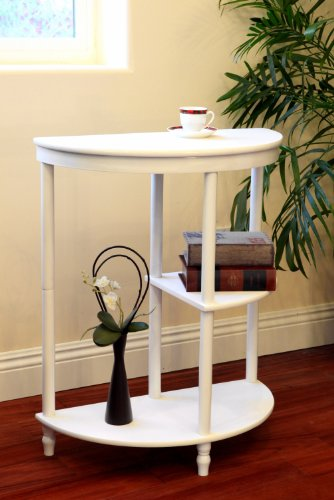 Frenchi Home Furnishing Half Moon Console Table, White (Moon Table compare prices)