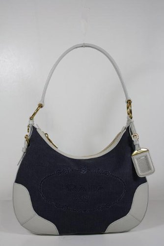 Prada Handbags Blue Denim and White Leather BR4622