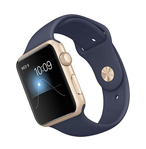"""Apple Watch Sport 42 mm - Smartwatch iOS de aluminio en oro (pantalla 1.65"""", 8 GB, 520 MHz, 512 MB RAM), correa deportiva azul noche (versión europea)"""