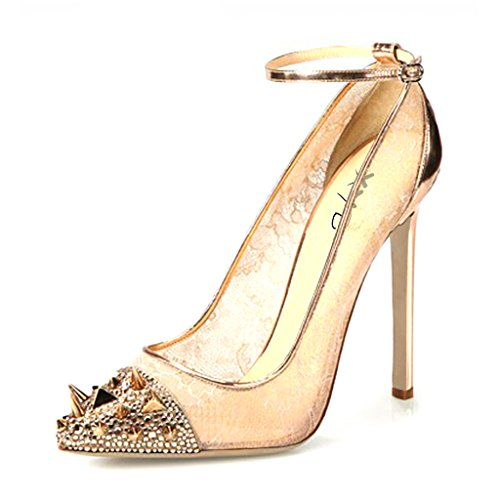 XYD Women Trendy Pointed-Toe Prom Pumps Sexy Transparent Mesh Strappy Heels Size 4 Gold