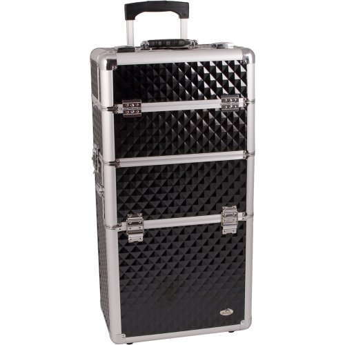 29 inch 2 in 1 Black Diamond Pattern with Silver Trim Aluminum Professional Rolling Wheeled Makeup Artist Trolley Case Cosmetic Organizer Beauty Supply Carrier w/Removable Telescoping Handle