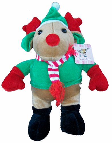 "Plush Christmas Reindeer 14"" Tall In Green Elf Hat - 1"