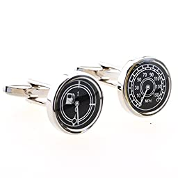 Covink® Speedometer & Fuel Gauge Cufflinks MPH Car Automotive Transportation Land Cuff Buttons with Gift Box