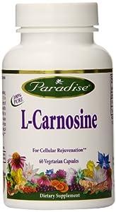 Paradise Herbs Carnosine (l-Carnosine) Vegetarian Capsules, 60 Count